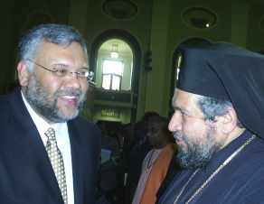 Premier of the Western Cape Ebrahim Rassool and Archbishop Seraphim