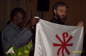Fr Athanasius and Fr Kobus with the Japanese Orthodox flag