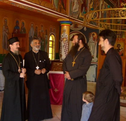 Bishop Atnasije, Fr Athos Pappas, Archimandrite Pantelejmon and Fr Elias in the monastery church