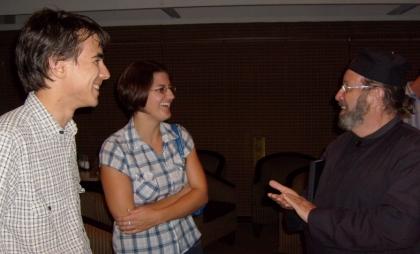 Cobus, Magdalena and Monk Nektarius at the emerging cohort meeting
