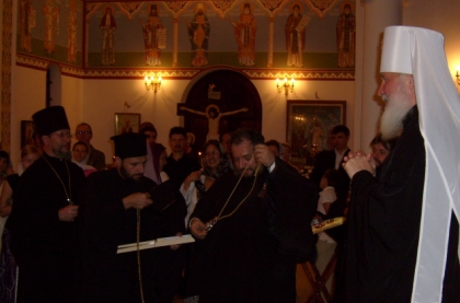Metropolitan Kirill (now Patriarch) presents Metropolitan Seraphim, Archbishop of Johannesburgand Pretoria, with a new Panagia - 29 Nov 2008