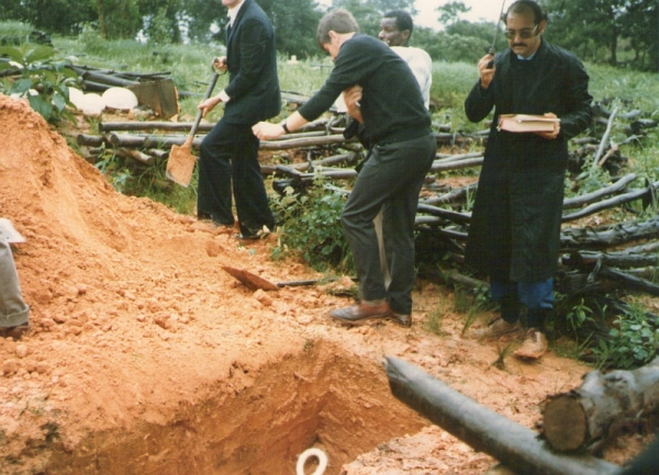 Filling in the grave at my mother's funeral, KwaMagwaza, Zululand, 29 November 1983