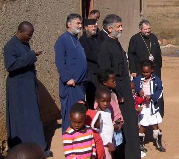 Fr Athanasius Akunda, Fr Athos Pappas, Deacon Nektarius Ritson, Fr Frumentius Taubata, Fr Martin Ritsi and Archbishop Seraphim at Atteridgeville 7 July 2009