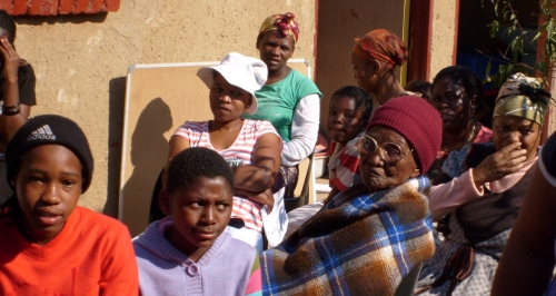 Some of the people at the Atteridgeville teaching week. The lady in the maroon hat is Maria Nkabinde, the oldest person present, 98 years old.