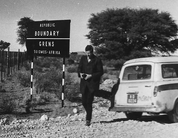The South Africa--Namibia border at Mata Mata in the Kalahari Gemsbok Park 20 July 1969
