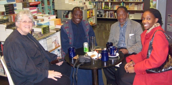 Val Hayes, Fr Athanasius Akunds, Prof Masango, Tshepo Chéry at the Settle Coffee Shop in Killarney, Johannesburg