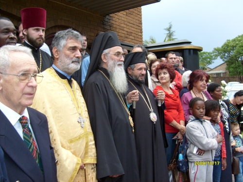 Bishop Milutin of Australia and New Zealand with Metropolitan Seraphim, Archbishop of Johannesburg and Pretoria, after Vespers at St Thomas's Church, Sunninghill, 17 Oct 2009