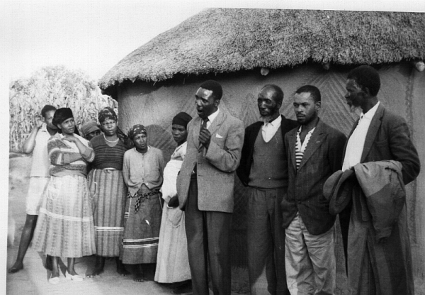 "Chris Shabalala, the Natal Midlands organiser of the Liberal Party, speaking to a group oif ""white intellectuals"" at a Liberal Party meeting at Stepmore, near Underberg, shortly before he was banned in August 1965"