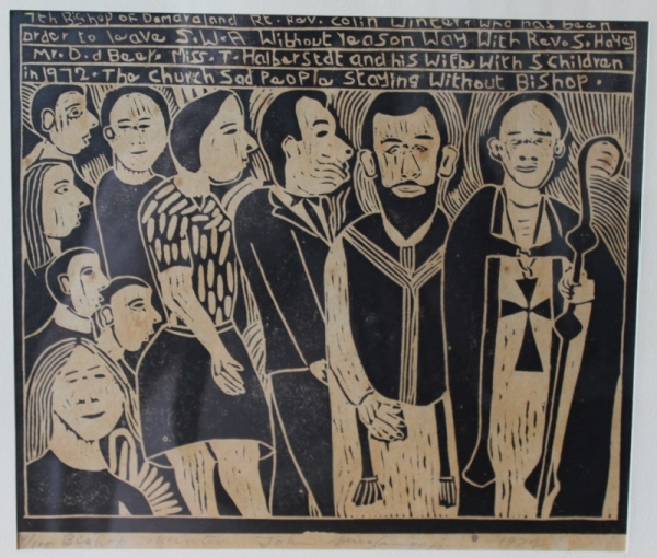 Linocut by John Muafangejo, commemorating out deportation