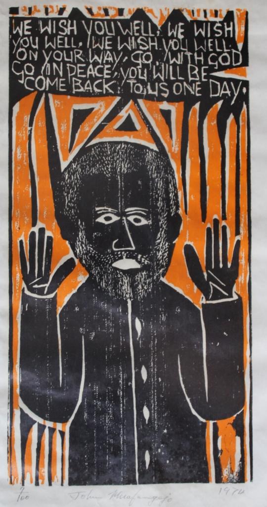 Linocut by John Muafangejo.