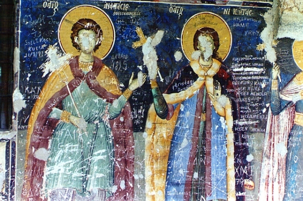 Frescos in a Voskopoje church, May 2000
