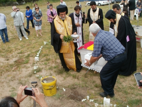 Archbishop Damaskinos blesses the foundation stone of the new church