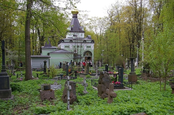 Chapel in Smolensk Cemetery in St Petersburg, Russia