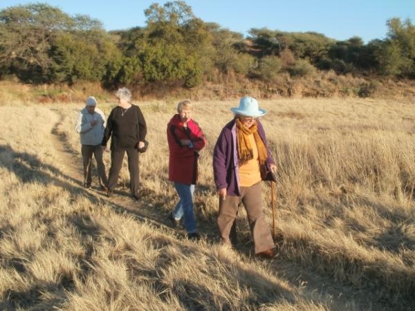 Walking the dogs at the Avis Dam, Windhoek: Justin Ellis, Val Hayes, Enid Ellis, Helen Vale