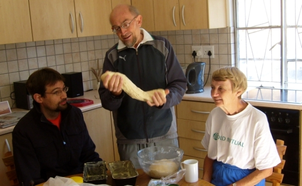 Hugh, Justin & Enid Ellis, Tursday 9 May 2013. Justin kneading bread.