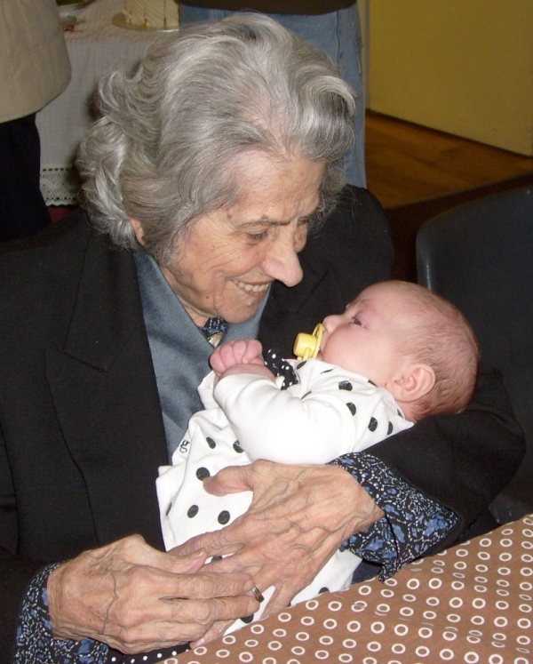The oldest and the youngest: Elly Mullinos, born 1913, with Michaela d'Amico, born 2013