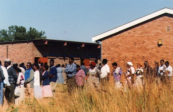 Waiting in the queue to vote in the first democratic election, in 1994, at a school in Mamelodi East.
