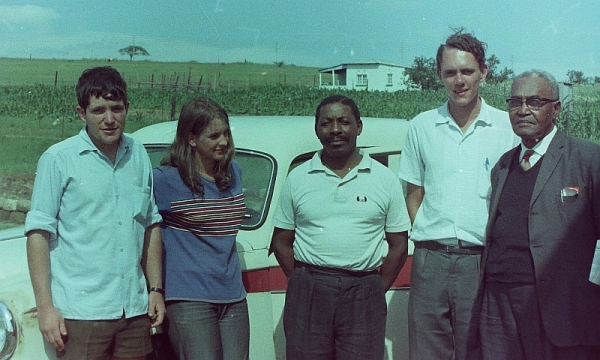 Jimmy Corrigall, Philippa Dale, Elliot Mngadi, James Wyllie and Selby Msimand, at Roosboom near Ladysmith, 12 February 1969