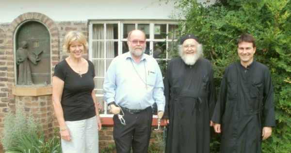 At St Benedict's House, 7 February 2014: Revd Kathy Barrable, Fr Michael Lapsley SSM, Deacon Stephen, Fr Elias