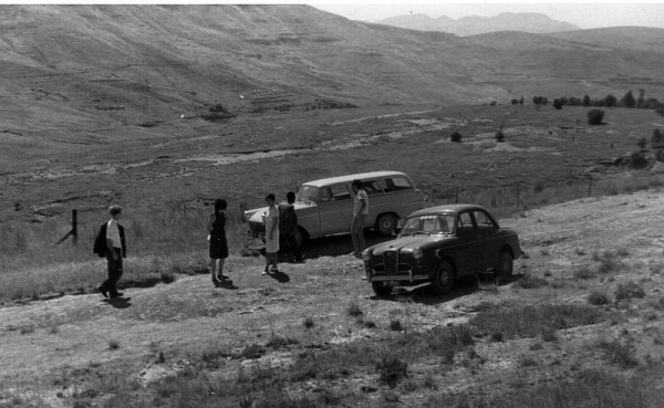 The Liberal Party Opel and Roddy Holmes's Wolseley at Upper Umkhomazi, 27 February 1965