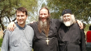Fr Elias, Fr Pantelejmon & Deacon Stephen at the farewell party for Father Pantelejmon at the Descent of the Holy Spirit monastery in Gerardville