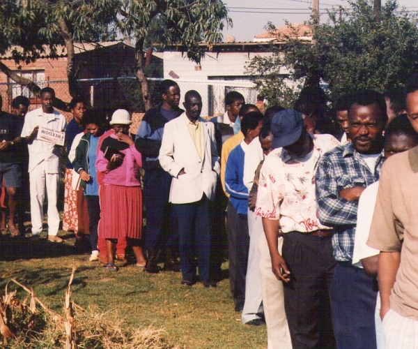 South Africa's first democratic election 27 April; 1994. Voters queuing in Mamelodi East.