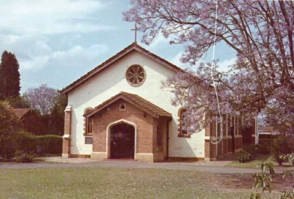 St Alphege's Church, Scottsville, Pietermaritzburtg, 1964. The original wood-and-iron church, then used as a hall, can be seen on the left.