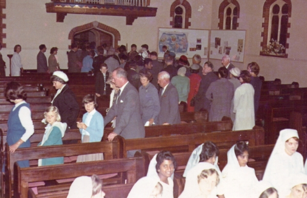 St Alphege's Church, Pietermaritzburg, 1964. The congregation were leaving after a confirmation service, and some of the candidates are in the front row.
