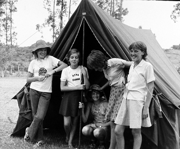 St Martin's AYPA camp at Fairfell Guide camp, Northdene. Three of the girls in the picture were Guides, and they organised the venue, put up the tents, planned the menu and cooked the food. They understandably got a bit annoyed with some of the others who sat on the grass dreamily twanging guitars, and wouldn't even help to wash the dishes.