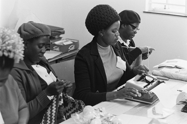 People could learn various skills at the St Martin's Centre of Concern, such as corchet, typing and knitting