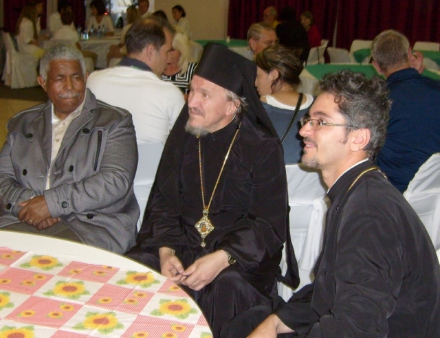 Bishop Mitrophan at the patronal feast of St Thomas's Church, with, in the right of the picture, Fr Razvan Tatu, of St Andrew's Romanian parish in Midrand