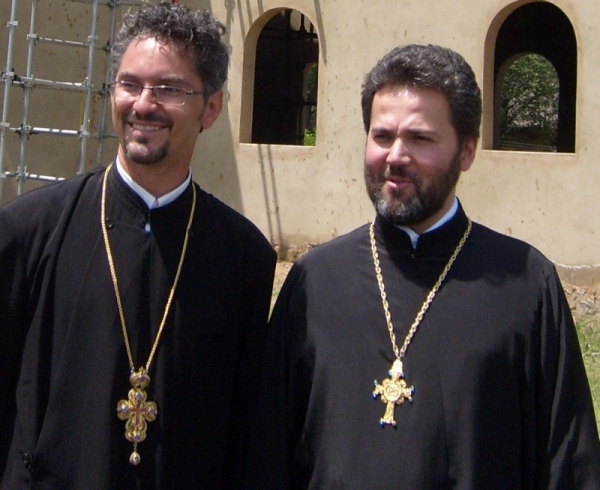 Fr Rasvan, the parish priest of St Andrew's with Fr Daniel, the priest of the neighbouring parish of St Sergius on the western side of Midrand.