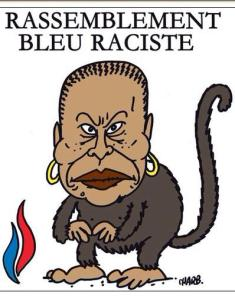 Charlie Hebdo cartoon portraying black Minister of Justice Christiane Taubira as a monkey
