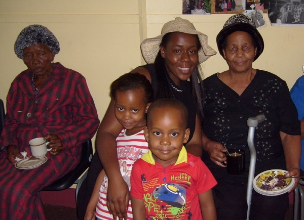 Christian Mothapo on the left, Theophania Malahlela on the right, with grand daughter Hellen and great-grandchildren