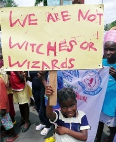 African children protesting against witchcraft accusations