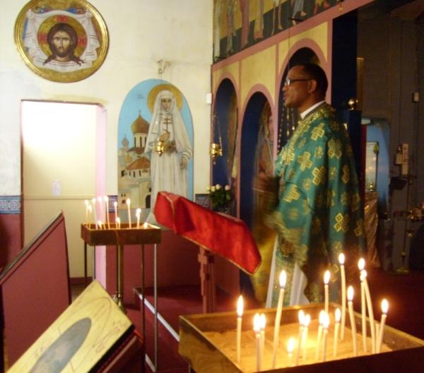 Fr Evangelos Thiane preaching at St Nicholas of Japan Orthodox Church in Brixton, Johannesburg, 1 Feb 2015