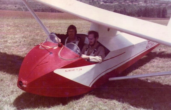 Sam Barker (my instructor) and me in ther cockpit of a Slingsby T42, Oribyi Aerodrome, Pietermaritzburg, 1965
