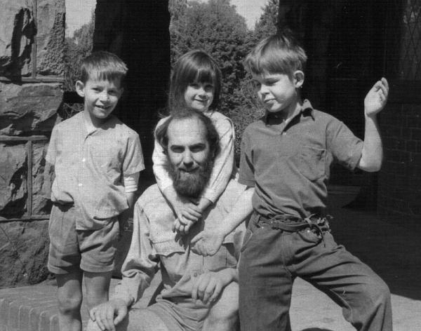 Recalling the past: Justin Baker, Liz & Mark Davies, with Steve Hayes (photo taken by Mary Davies). Parktown, Johannesburg, July 1968.