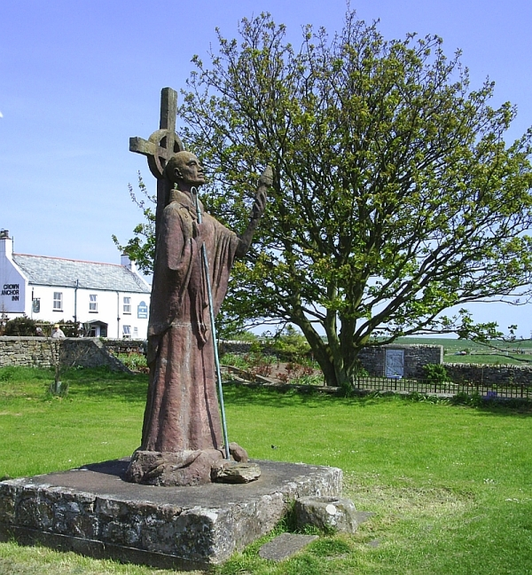 St Aidan, missionary to the English. He established the monastery on Lindisfarne as a base for his evangelistic journeys.