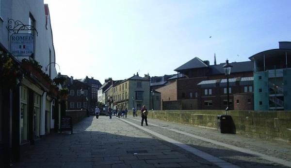The now pedestrianised Elvet bridge, looking towards the town centre of Durham.