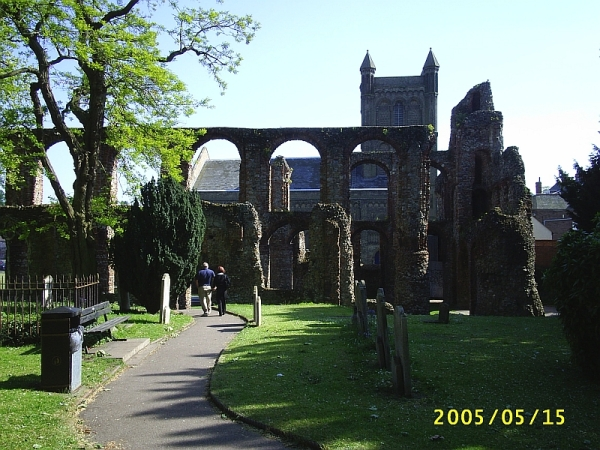 St Botolph's Church, Colchester, Essex, with the ruins of the old priory in the foregrouind. 15 May 2005