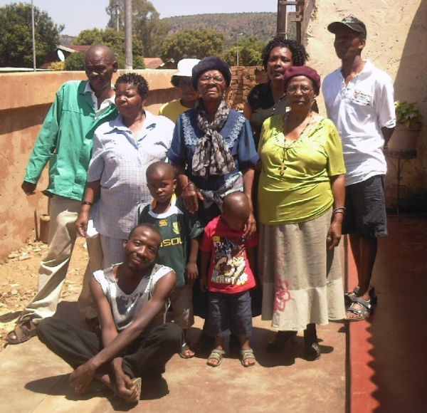 Christina Mothapo with members of her family on her 87th birthday, 1 Jan 2013