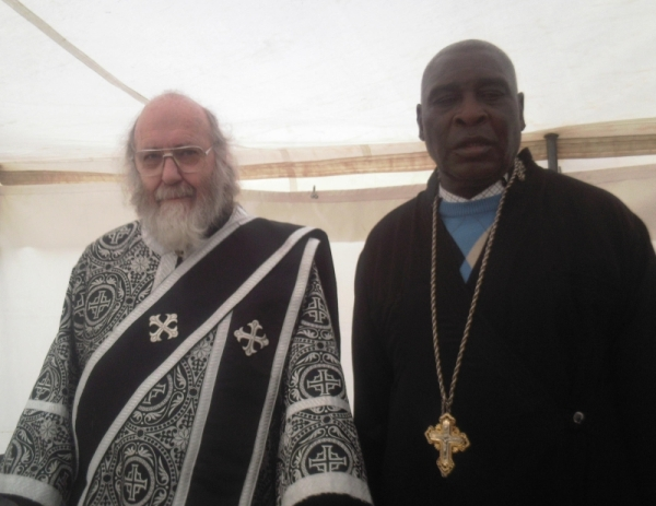 Deacon Stephen Hayes and Reader Peter Chauke at the funeral