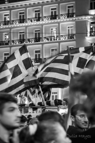 """Celebrating the """"No"""" vote in the anti-austerity referendum in Athens (photo: Julia Bridget Hayes)"""