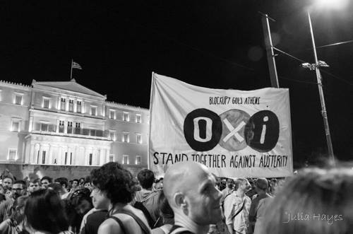 "Celebratiing the ""No"" vote in the anti-austerity referendum, Syntagma Square, Athens (photo by Julia Bridget Hayes)"