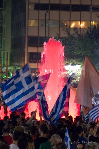"Celebrating the ""No"" vote in the anti-austerity referendum, Syntagma Square, Athens (photo: Julia Bridget Hayes)"