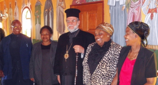 Fr Frumentius, city councillor and compainions, and Archbishop Damaskinos