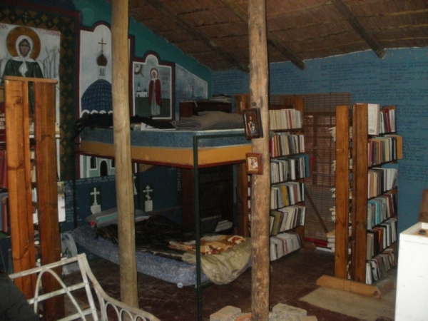 Where we slept-- in the monastery library