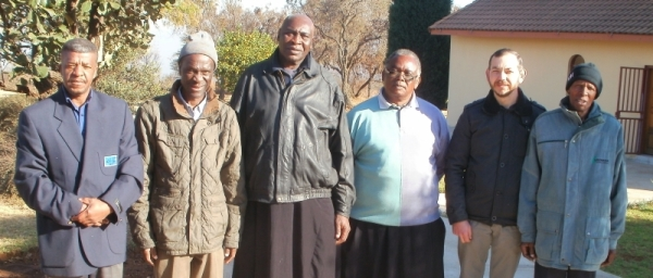 Students on the leaders training course: Bheki Buthelezi of Olievenhoutbos; Artemius Mangena of Atteridgeville; Nicholas Chauke of Soshanguve; Fr Frumentius Taubata; Christo Kokkinos of Vanderbijlpark; and Ernest Shilubane of Soshanguve.