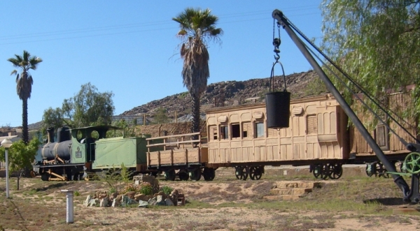Mining museum at Nababeep, Namaqualand, with train that took copper ore to Port Nolloth on the coast. The line closed in 1952.